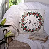 Christmas Pillow Covers Joyeux Noel Pillow Cases Holiday French Country Decorations Cushion Case Holly Berries Wreath Xmas Decor