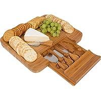 """Bandeja para servir queso de bambú con innovaciones de marca comercial con el juego de utensilios Hide-Away (13.5 """"x 11.5"""")"""