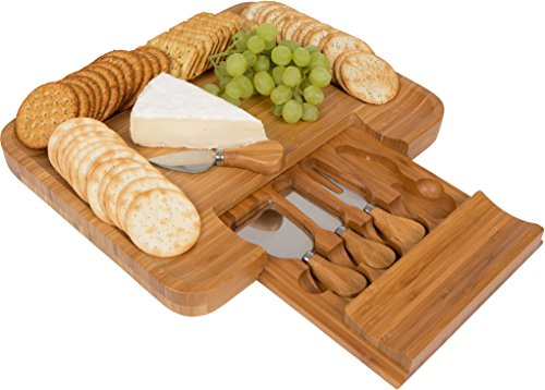 Trademark Innovations Bamboo Cheese Serving Tray with Hide-Away Utensil Set (13.5' x 11.5')