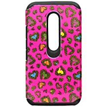 Asmyna Cell Phone Case for Motorola Moto G (3rd Gen) - Retail Packaging - Black/Pink