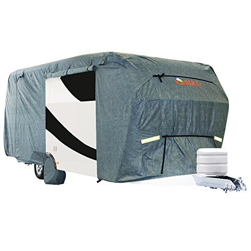 Extra-thick 4-Ply Top Panel & 4Pcs Tire Covers, Kingbird Fits 18'-20' RV Cover Deluxe Camper Travel Trailer Cover, -Breathable Water-repellent Rip-stop Anti-UV with Storage Bag