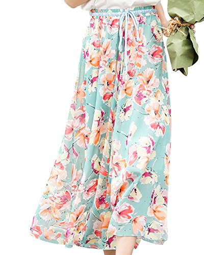 ZhuiKunA Jupe Maxi Femme Fleurs Impression Boho Plage Plisse Mousseline Grand Pendule Bleu 3