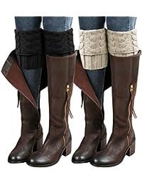 2 Pairs Womens Boot Leg Cuffs, Leg Warmers Topper Socks, Boot Socks for Women