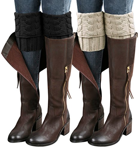 - Loritta 2 Pairs Womens Boot Leg Cuffs, Leg Warmers Topper Socks, Boot Socks for Women