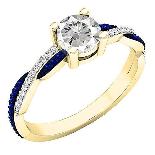 Dazzlingrock Collection 18K Round White Sapphire & Diamond Ladies Swirl Split Shank Engagement Ring, Yellow Gold, Size 7