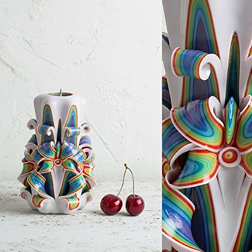 [Decorative Candles - Hand Carved Rainbow Wedding Centerpiece - Boho Premium - EveCandles] (Lilies Unity Candle)