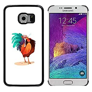 LECELL--Funda protectora / Cubierta / Piel For Samsung Galaxy S6 EDGE SM-G925 -- Rooster Colorful Art Blue Big Tail Drawing --
