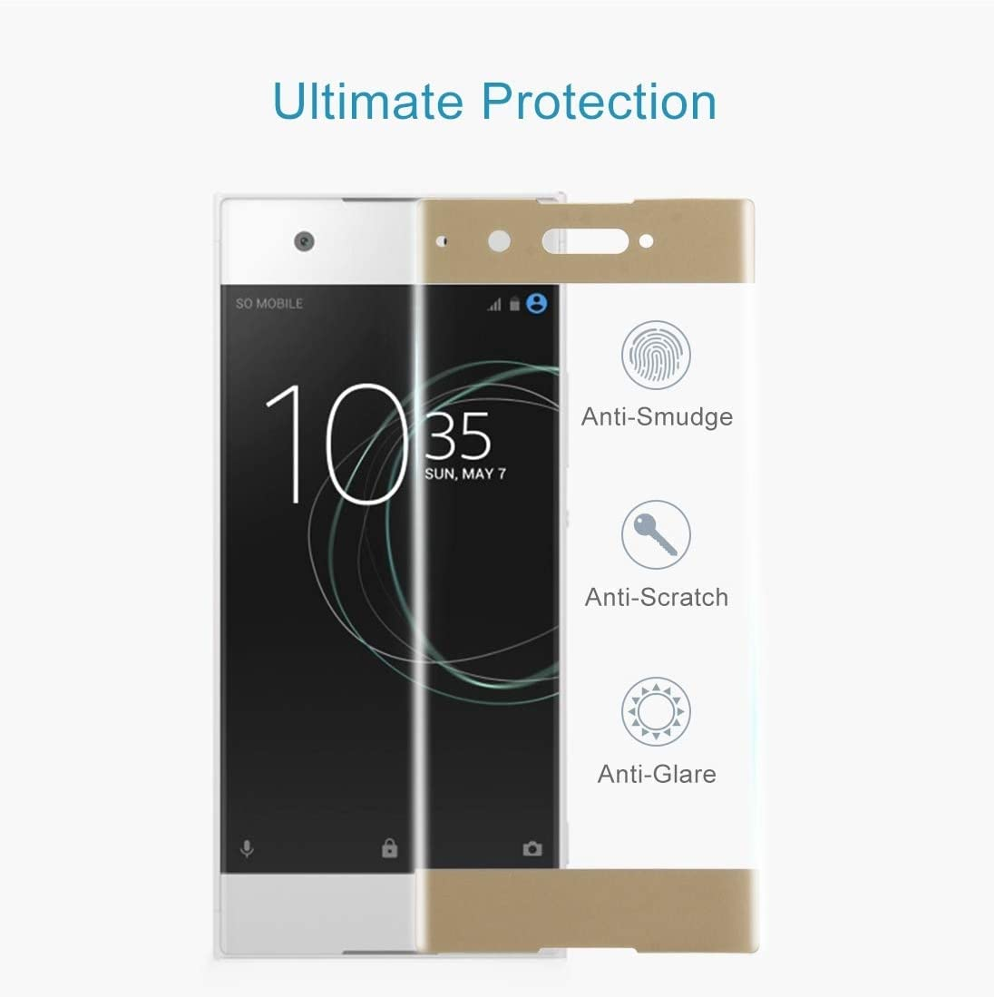 Color : Gold Yangmeijuan Mobile Accessory 25 PCS for Sony Xperia XA1 0.33mm 9H Surface Hardness 3D Curved Full Screen Tempered Glass Screen Protector Black Cell Phone Replacement Parts