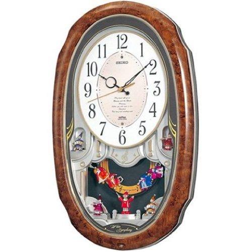 セイコー クロック 掛け時計 電波 アナログ 6曲 メロディ 飾り振り子 茶 木目 模様 AM213H SEIKO B00322PHA6