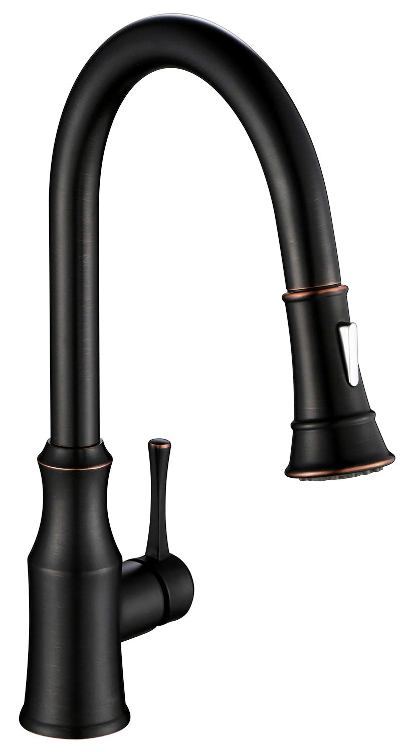 AguaStella AS94ORB Oil Rubbed Bronze Kitchen Sink Faucet with Pull Down Sprayer Single Handle High Arc