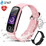 Fitness Tracker Watch, AGPTEK Color Screen Sport Band Heart Rate Sleep Monitor Pedometer Calorie Counter Notifications Smart Wristband for iOS Android Smartphones, Rose Gold for Women