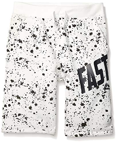 RBX Boys' Big Performance Short, White Printed Fleece, 8