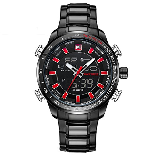 Tayhot Men's Stainless Steel Digital Analog Watches,Dual Time Display Sports Waterproof Digital Quartz Wrist Watch,Black Dial Chronograph Stainless Steel Dress Watch for ()