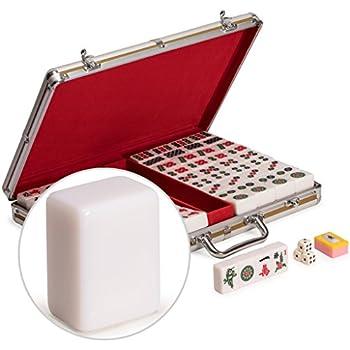 144 Numbered Green Melamine Tiles Dragon Pattern Aluminum case Complete Set Weighs 9 lbs Mahjongg, Mah-Jongg, Mah Jongg, Majiang W USAMJTABLE 高品質麻將 Classic Chinese Mahjong Game Set
