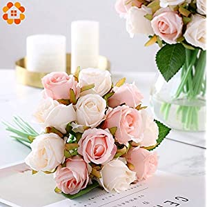 ARISLUX Chicken Party - 12pcs Artificial Rose Bouquet Decorative Silk Flowers Bride for Wedding Home Party Decoration Wedding Supplies 2
