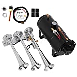 Bestauto 3 Triple Train Air Horn System Kit 150 DB Loud Train Sound Automatically with 1 Gallon Tank 150 PSI Compressor On Board