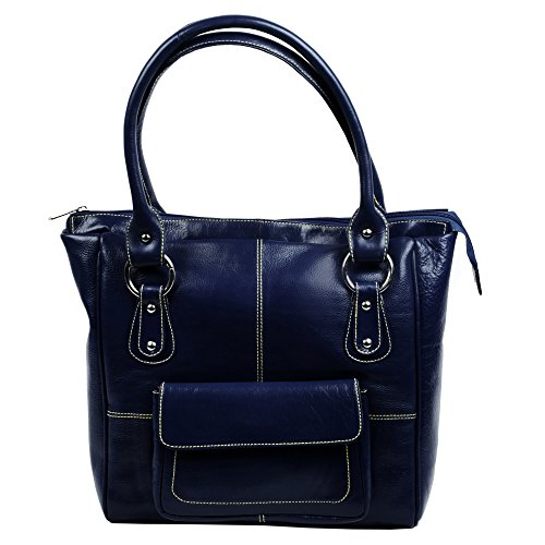 Women's Genuine Leather Tote Shoulder Bag Blue Shopper Cowhide