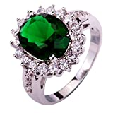 YAZILIND Lady's Valentine's Day Flower Shape Emerald Zircon Ring For Women Gift Size9