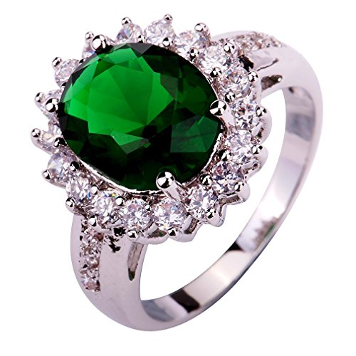 Genuine Stone Emerald 3 Ring (YAZILIND Lady's Silver Plated Flower Shape Emerald Zircon Ring For Women Gift Size6)