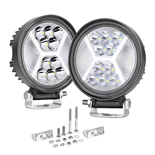 DRL LED Pods, SWATOW INDUSTRIES 2PCS 4 Inch 126W Diffused Round Off Road LED Light Pods Driving Lights LED Work Lights Spot Flood Combo Fog Lights for Truck Jeep Cars ATV UTV Motorcycle Tractor Boat