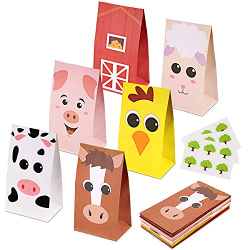 RecooTic Farm Animal Party Bags Goodie bags for Kids Farm Themed Party, Pack of 24 ()
