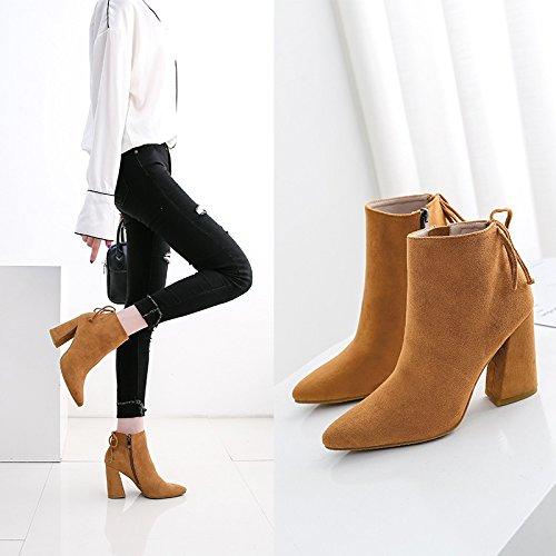 con de gruesa de cuero de punta Botas botas cm alto lijado de 7 34 tacón y camello color Ygx5qAwqt