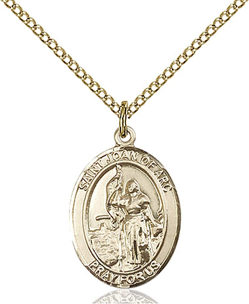 14kt Gold Filled St Gold Filled Lite Curb Chain Patron Saint Soldiers//France 3//4 x 1//2 Joan of Arc Pendant