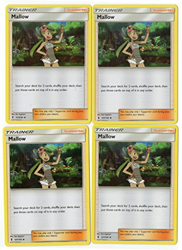 Mallow 127/145 Sun Moon Guardians Rising - Trainer Card Set - x4 Supporter Card Lot (Playset)