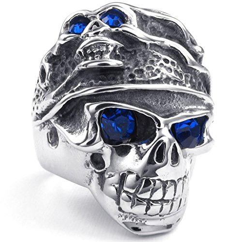 Stainless Steel Rings, Men's Bands Punk Gothic Tribal Skull Silver Size 7 Epinki