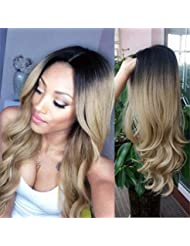 HANNE Ombre Color Long Curly Wig Heat Resistant Synthetic Wig High Density Full Wigs for Women