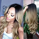 HANNE Ombre Color Long Curly Wig Heat Resistant Synthetic Hair Wig High Density Full Wigs for Women (1B/Light Blonde)