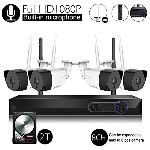 Wireless Security Camera System with Audio, 8CH Expendable 1080P(2.0MP) Video Surveillance Security System with 2TB HDD(WIFI NVR KIT),Built-in microphone, and 4pcs 1080P Indoor/Outdoor ,P2P,65ft Night