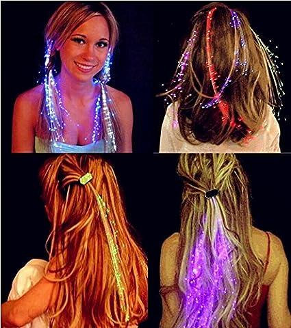 Luminous Light up LED Hair Extension Flash Braid Party Girl Hair Glow By Fiber Optic 5pcs - Braid Vintage Necklace