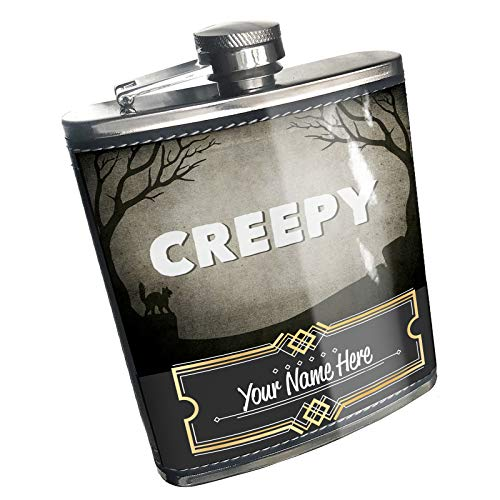 Neonblond Flask Creepy Halloween Graveyard Custom Name Stainless Steel]()