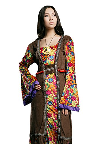 Adult Women Hippie Girl Costume Cosplay & Role Play Hippy Flower Child Dress Up (Medium/Large, Brown, Yellow, Pink, Orange, Blue, Green)