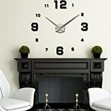 Wemore(TM) DIY Large Simple Digits Watch Wall Clock Modern Design Sticker Mirror Acrylic Glass Decal horloge murale duvar saati