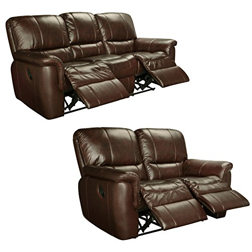 Sofaweb.com Ethan Chestnut Brown Italian Leather Reclining Sofa and Loveseat