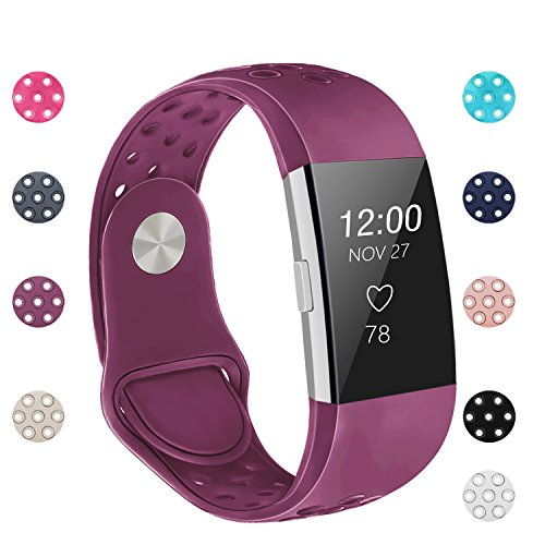 POY Replacement Bands Compatible for Fitbit Charge 2, Adjustable Breathable Wristbands with Air Holes Straps, Small Plum