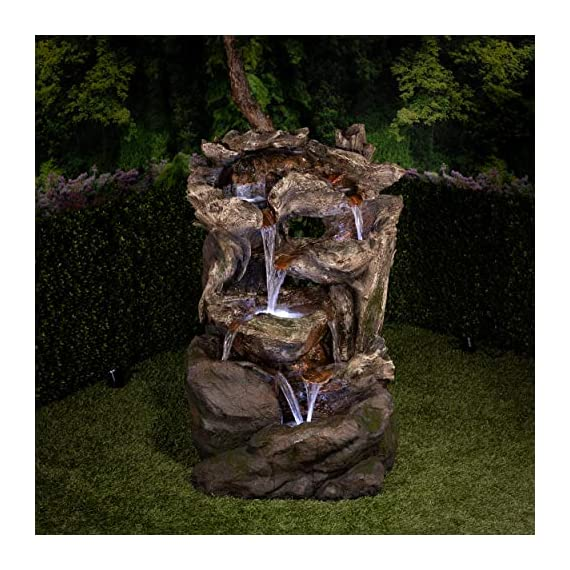 Alpine Corporation 6-Tier Rainforest Rock Water Fountain with LED Lights - Outdoor Water Fountain for Garden, Patio, Deck, Porch - Yard Art Decor - WATERFALL FOUNTAIN: Garden water fountain is the perfect addition to your outdoor decor. Interior pump keeps the water flowing - just plug it in! RELAXING WATER FLOW: Water trickles from each tier to mimic the sounds of a real waterfall, adding peaceful ambiance to your outdoor setting NATURAL LOOK: Realistic brown stone tower brings a touch of natural beauty to your space - patio, outdoor-decor, fountains - 51HoDpx8AnL. SS570  -