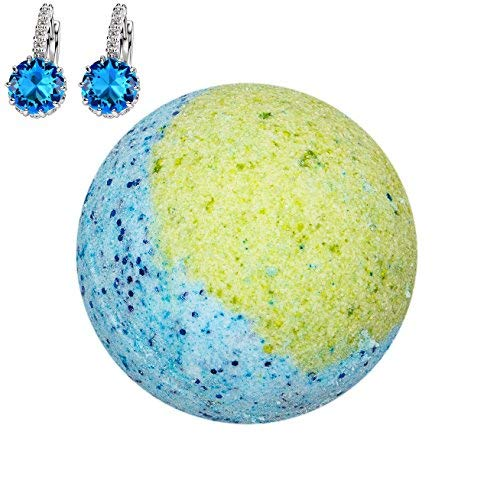 Addicted to Soap - Blue Earrings Jewelry Bath Bomb | Ultra Luxurious - Extra Large 6oz Bath Bomb with STERLING SILVER Surprise Inside - Organic & Sensual Relaxation Handmade with Love Texas