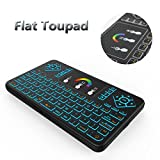 Tripsky Q9 Colorful Backlit Mini Wireless Keyboard and Touchpad Mouse, 2.4Ghz Handle Remote for Android TV Box, Windows PC, HTPC, IPTV, Raspberry Pi, XBOX 360, PS3, PS4 (Black, US Layout)