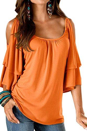 À Summer Elégant Chemisier Débardeurs T shirt Courtes Bienbien Basiques Manches Orange Plus Taille n4wAxTHq