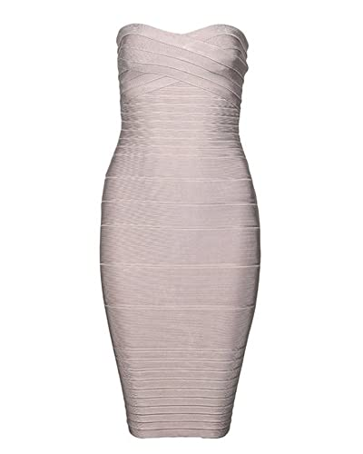 UONBOX Women's Strapless Tube Mini Bandage Stretch Club Bodycon Dress