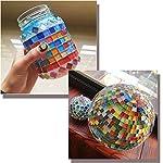 Jicyor-Mosaico-Vetroso-480-Pezzi-Misti-Colore-Cristallo-Quadrato-Vetro-Luminoso-Artigianato-Tessere-Mosaico-Set-per-DIY-Crafts-Casa-Piatti-Cornici-Vasi-di-Fiori