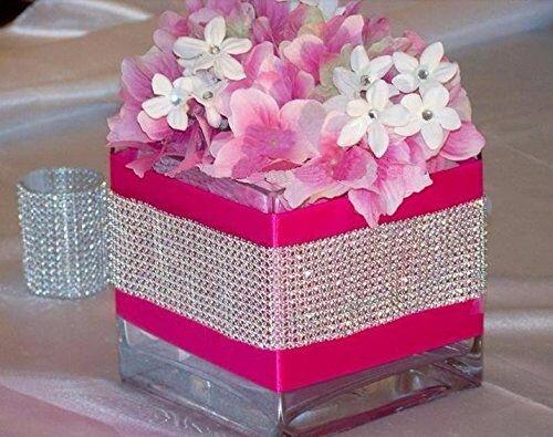Susuntas 8 Row 10 Yard Rhinestone Diamond Ribbons Mesh Trim Bling Diamond Wrap Cake Roll tulle Sparkling Mesh Ribbon rhinestone mesh trimming for Party Wedding Decoration Supplies