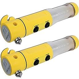 (Set/2) Auto 4 In 1 Emergency Tool w/ Window Spike & Car Seat Belt Cutter