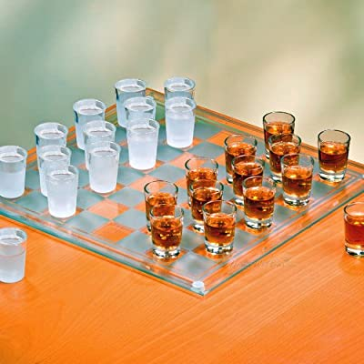"""Crystal Clear 326239-GB Checkers Shot Drinking Game Set w/ 24 Lead-Free Glass Shots & Game Board-Ideal Gift for Birthdays, Father's Day & Housewarming, 14"""": Shot Glasses"""