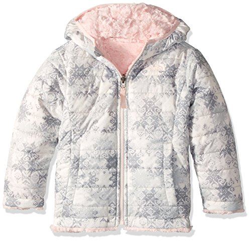 Hand Embroidered Ski (The North Face Toddler Girl's Reversible Mossbud Swirl Jacket - TNF White Snowflake Fair Isle Print - 3T (Past Season))