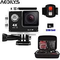Action Camera , AEDILYS 4K HD Action Camera ,Wrist 2.4G Wireless RF Remote Control , WiFi 2inch 170° Sports Video, lens Helmet go waterproof pro camera +32GB Card+Camera Bag