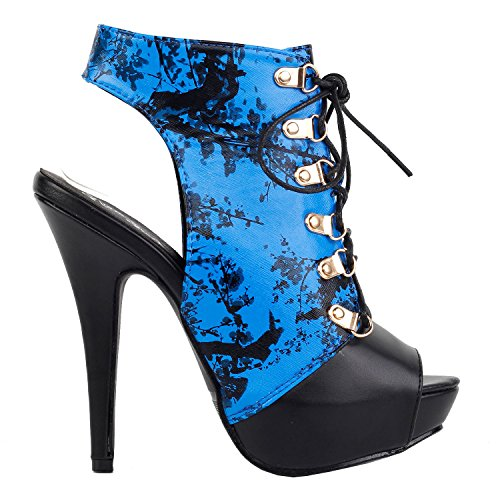 SHOW STORY Blue and Black Bamboo Chinese Ink and Wash Cut-Out Floral Lace Up Gladiator High Heel Stiletto Platform Ankle Bootie Sandals,LF30101BU39,8US,Blue (Black Cut Out Lace Up Platform Heels)
